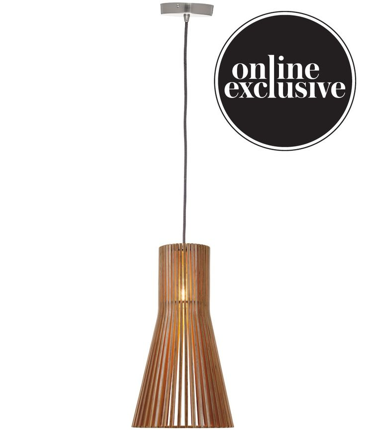 Beacon Lighting - Stockholm cone medium pendant in natural wood with brushed chrome canopy, see below for detailed description. Only available to buy online, allow 2 weeks for delivery or arrival into store for pickup