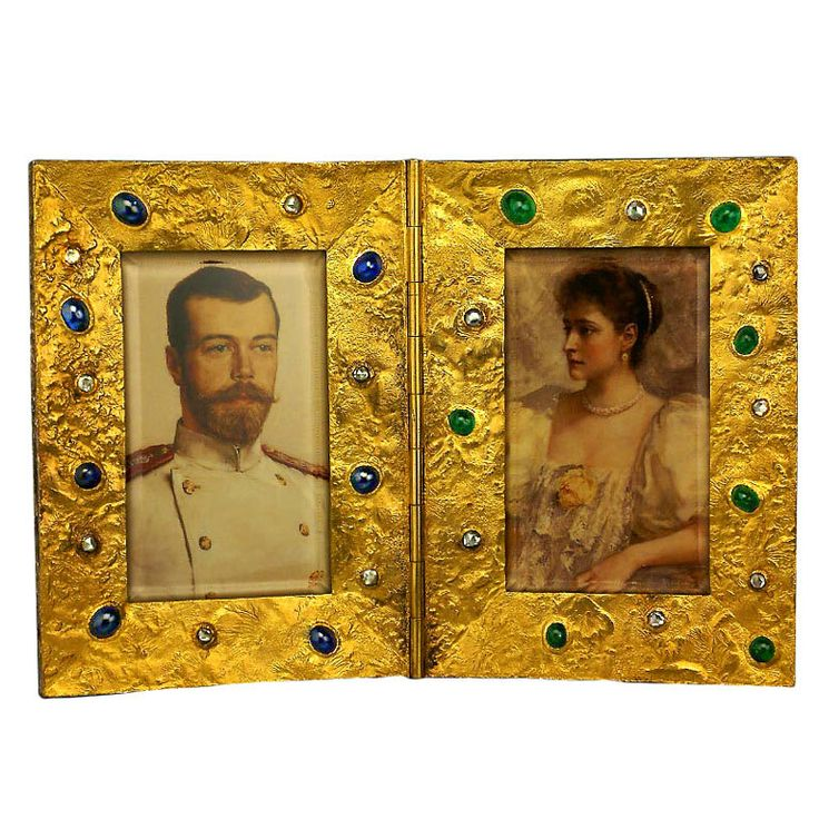 FABERGE Jeweled 14kt.Gold Nugget Double Picture Frame, St.Petersburg, Russia, circa 1890's <3