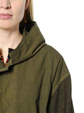 y's - femme - vestes casual - parka militaire oxford à capuche