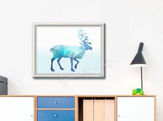 Blue Polygon Elk Print  Wall Art Print  Instant Digital by TyanaRt