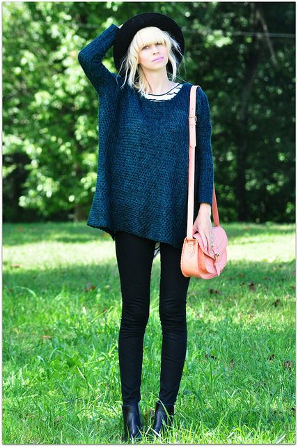 oversized sweater over stripes #fall