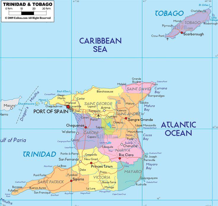 Map of Trinidad and Tobagoand Trinidad and Tobago Political Map