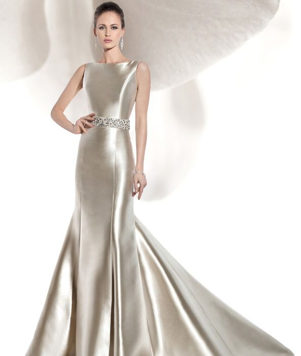 Rich Mikado Satin Bridal Gown High Neck And V Back With Covered Buttons