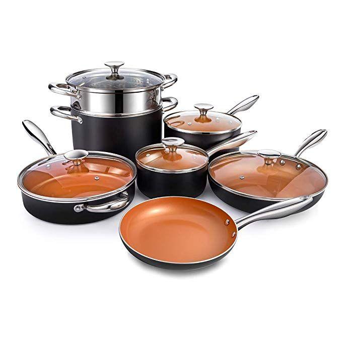 Michelangelo Copper Cookware Set 12 Piece With Nonstick Ceramic Coating Copper Pots And Pans Sets Copper Cookware Set Pots And Pans Sets Ceramic Cookware Set