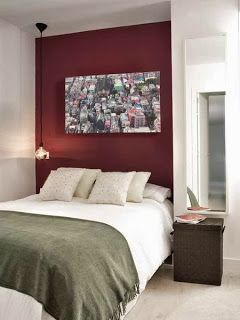 #bedroom #colorscheme Bed sheets: grey, accent pillows/blankets: maroon/red since the apartment walls are white