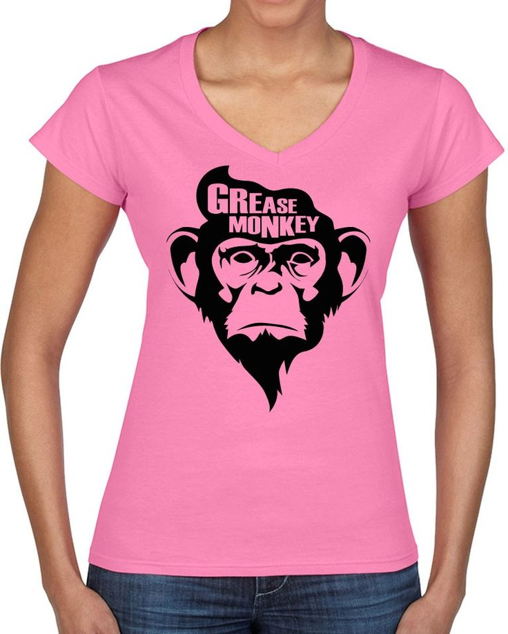 Awesome Tshirts - Grease Monkey T-Shirt - Ladies Pink V-neck T-shirt - $35