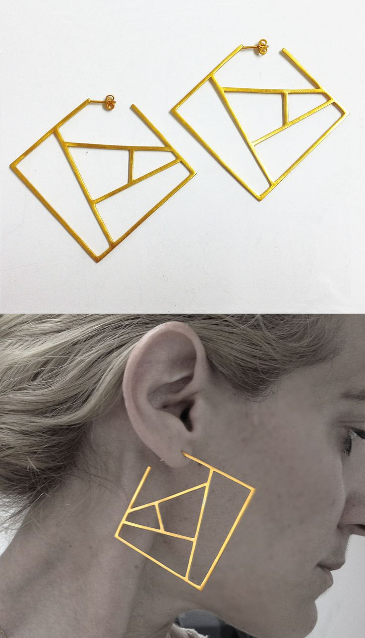24ct gold plated silver square earrings, contemporary geometric sterling silver hoop earrings, architectural silver hoop earrings