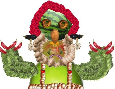 Giuseppe Arcimboldo inspired digital portraits - learning how to select out objects, repeat and organize layers.