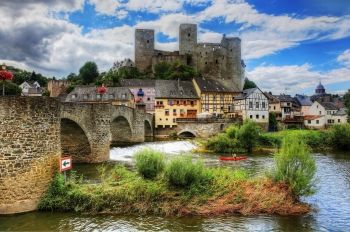 Germany, Runkel castle, hill, tower, river, bridge, clouds, grass