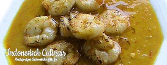 Udang Besar Panggang - Grote garnalen in een romige saus - Prawns in a creamy sauce