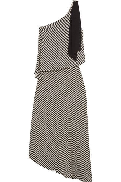 Halston Heritage - One-shoulder Asymmetric Striped Crepe Midi Dress - Black -