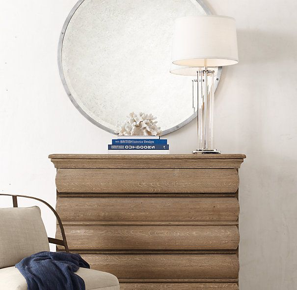 French Column Glass Table Lamp In Polished Nickel By Restoration Hardware