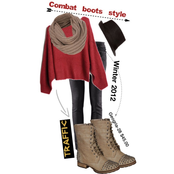 """Traffic shoe Combat Boot style Winter 2012"" by trafficshoe on Polyvore"