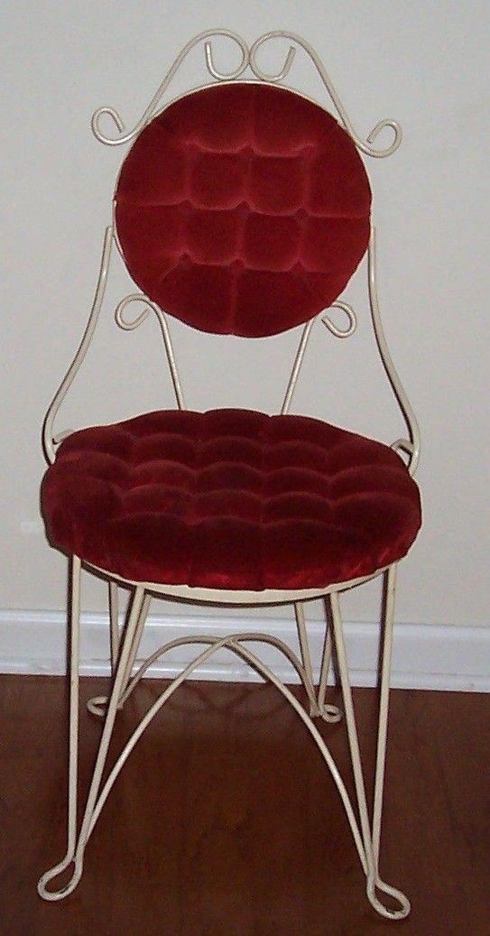 Vintage Wrought Iron Vanity Chair Red Velvet Tufted