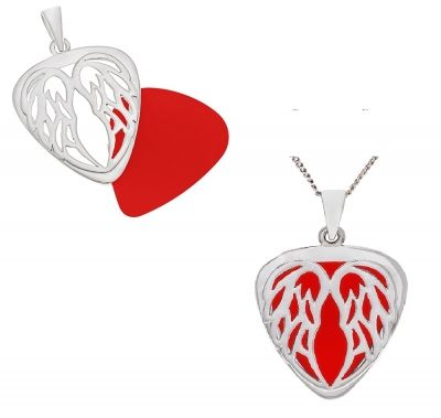 Pendant - GUITAR PICK HOLDER - ANGEL WINGS - Sterling SilverOh My Giddy Aunt's original design Angel Wing Pick Holders look amazing, have a special meaning and are uniquely designed to keep a treasured guitar pick always close by.