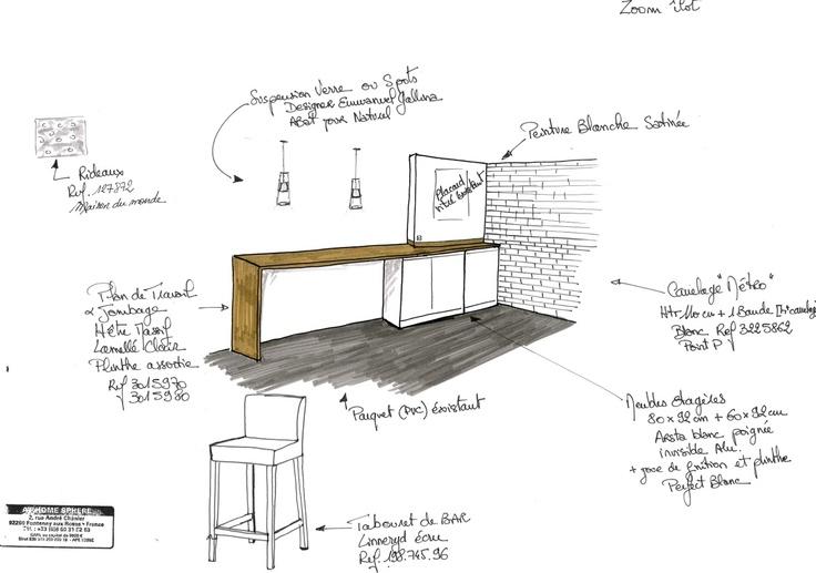 création du0027un ilot bar entre la cuisine et salle à manger