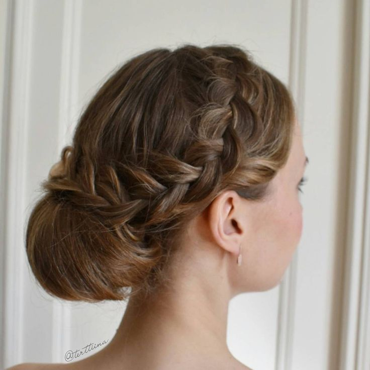 """Hair by @terttiina Instagramissa: """"Updo from last weekends wedding on this beautiful bridesmaid!  Pancaked dutch braid and low bun """""""