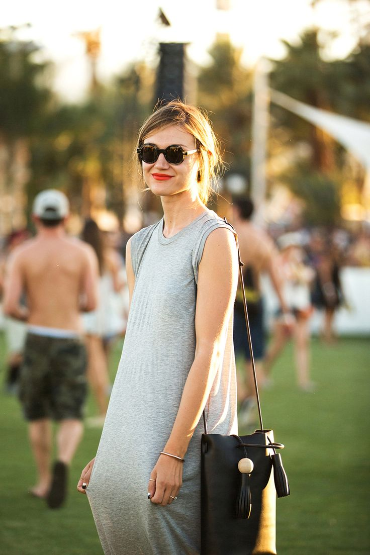 50+ Stylish Folks Who Rocked Coachella #refinery29  http://www.refinery29.com/coachella-style#slide32  Actress Jennifer Campbell stretches things out in an Acne dress and a Building Block bag.