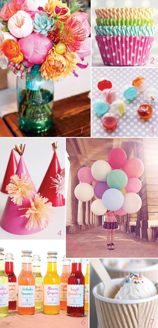 Party Decor Ideas: Colors Pallets, Decor Ideas, Party'S Decor, Girls Birthday Parties, Colors Palettes, Parties Ideas, Orange Pink, Bright Colors, Parties Decor