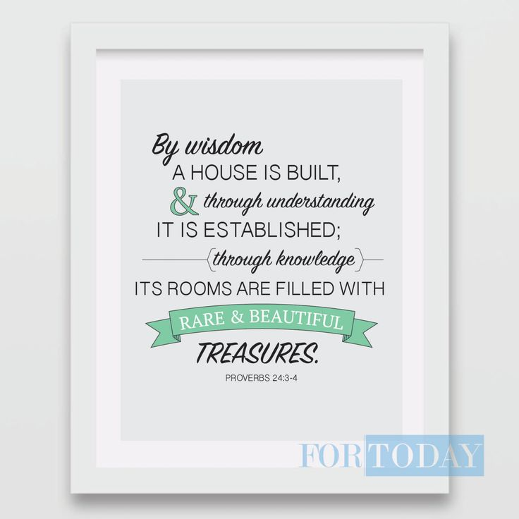 Proverbs 24:3-4 - Instant Download- Decorative Wall Print by forTODAYdesigns on Etsy