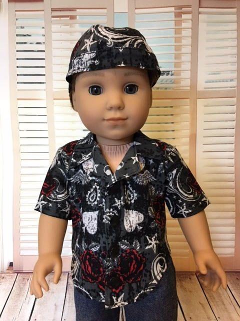 Tattoo print Shirt & Do rag fits American Girl Logan and 18 inch dolls by WeeWhimzyWardrobe on Etsy