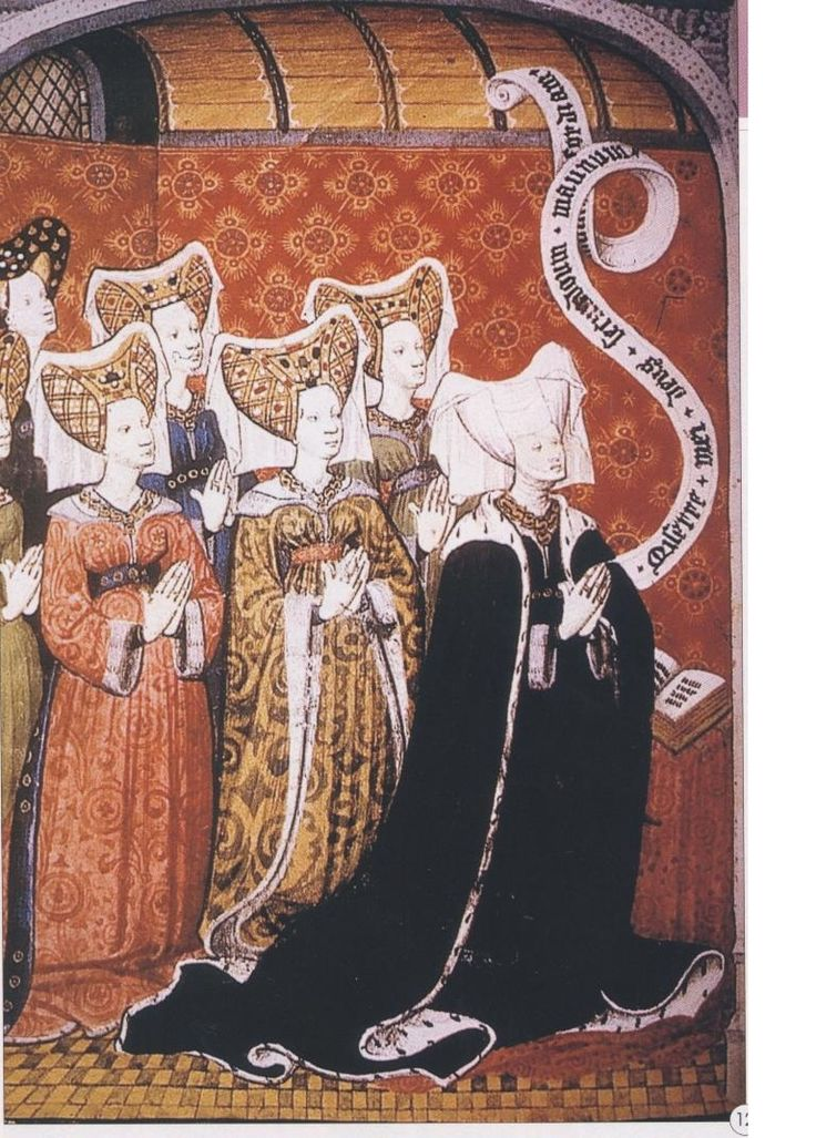 Joan Beaufort Neville, wife of Ralph Neville, 1st earl of Westmoreland.  One of these ladies is Cecily Neville, mother of Edward IV and Richard III.  Master of the Munich Golden Legend Book of hours of the Neville family, f.27v : circa 1425-between 1427-1432, companion piece with the earl and his sons exists.