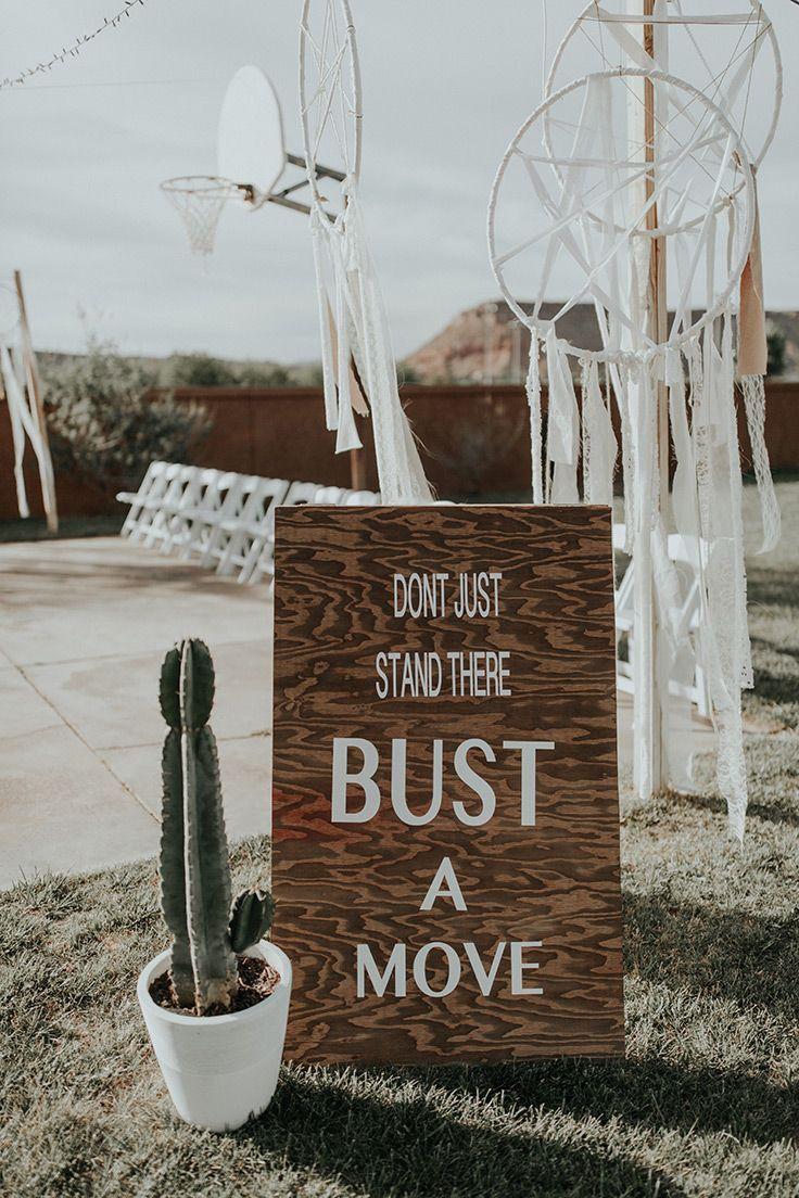 dance floor DIY sign  #bohowedding #backyardwedding See more:  https://ruffledblog.com/backyard-bohemian-wedding