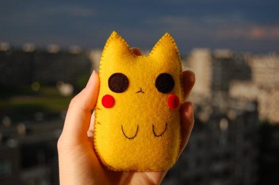 Pikachu cat handmade soft doll by Mielamiela on Etsy, $8.20