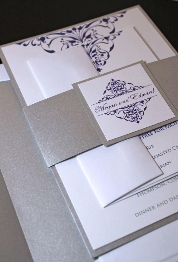 Vintage damask wedding invitation - silver and purple wedding invite - custom wedding invitation