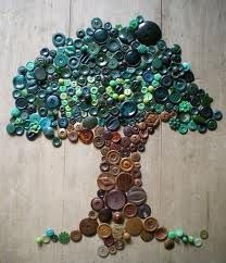 Turquoise, teal and brown button tree. Cool! Interesting idea for the sitting