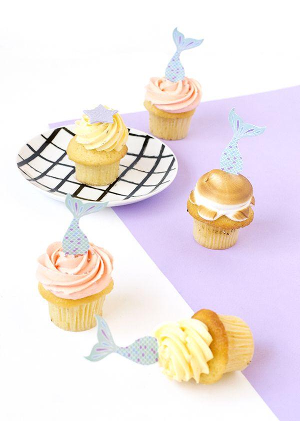 Free printable zeemeermin cupcake toppers. // via Make and Tell