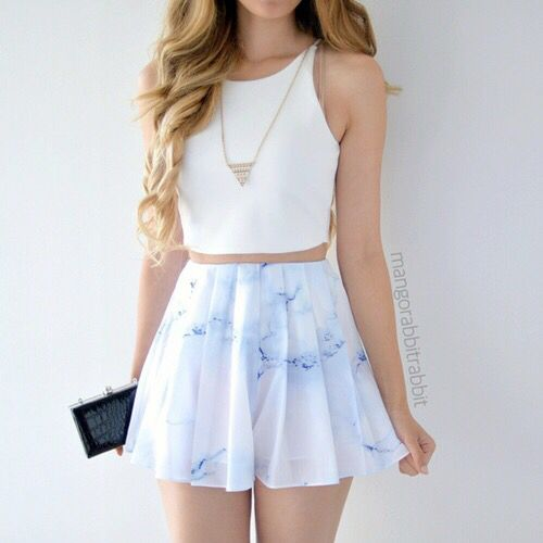 The top and shorts/skirt