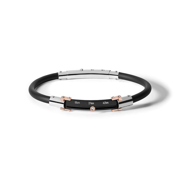 UBR 715 Bracciale in acciaio.  Trattamento in PVD nero e rosé. Caucciù. Zircone. #CometeGioielli