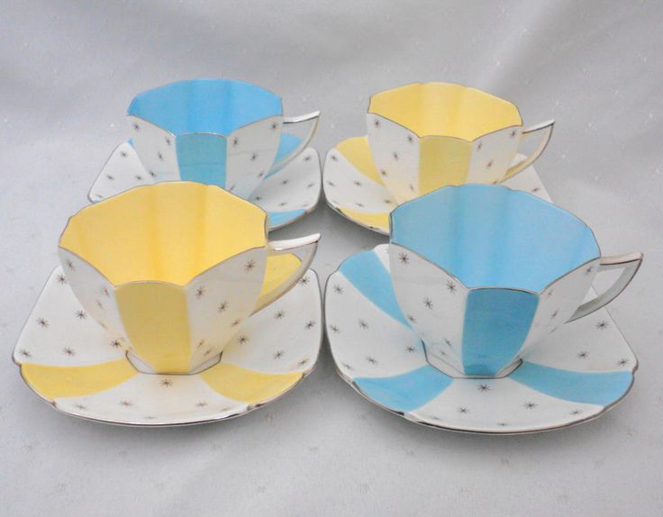 SET OF 4 SHELLEY QUEEN ANNE POLE STAR TEA CUP AND SAUCER in Pottery & Glass, Pottery & China, China & Dinnerware   eBay