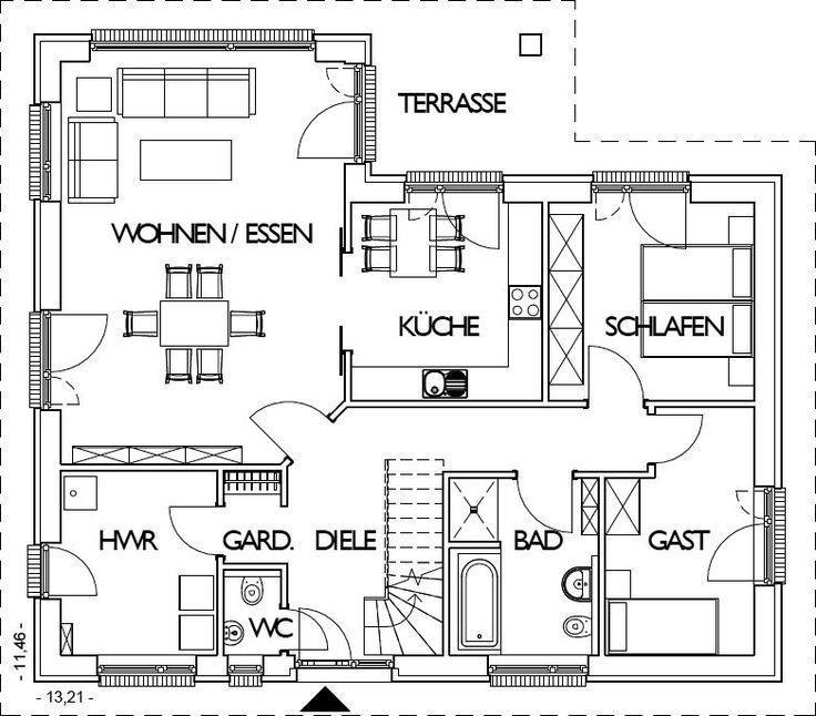 Grundriss bungalow 120 qm mit garage  Die 25+ besten Winkelbungalow grundriss Ideen auf Pinterest ...