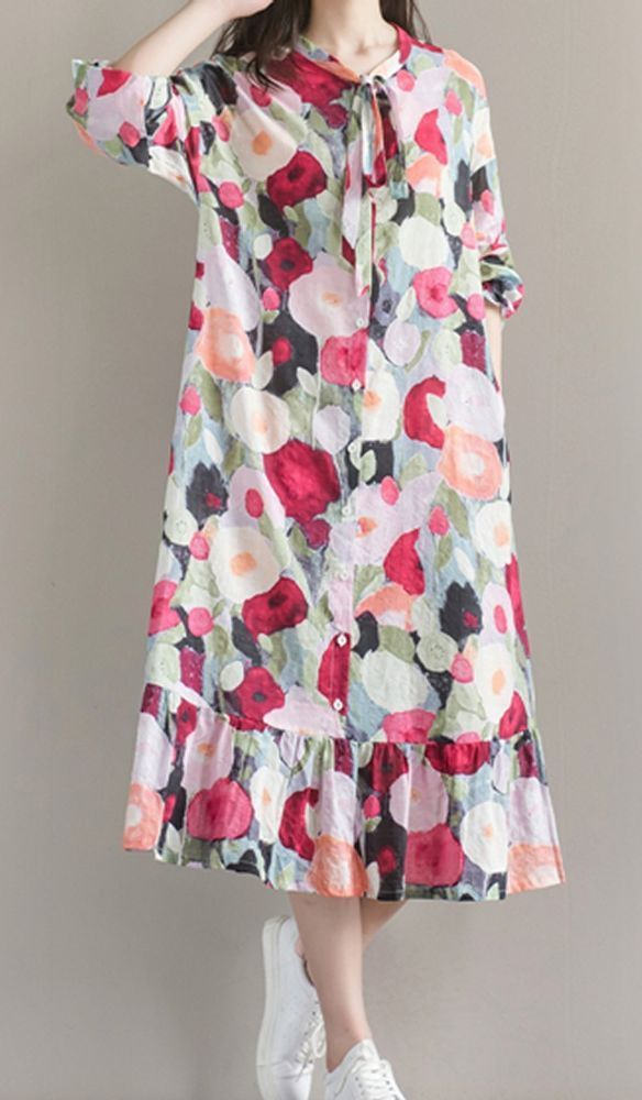 Women loose fitting over plus size retro flower dress pocket long maxi tunic #Unbranded #dress #Casual