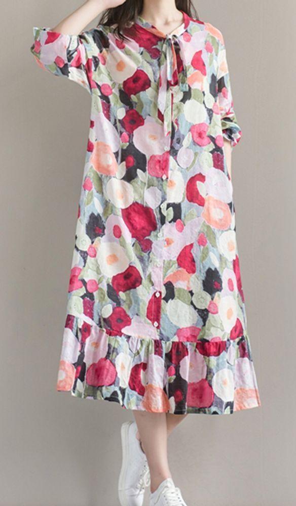 Frauen locker über plus Größe Retro Blumenkleid Tasche lange Maxi Tunika
