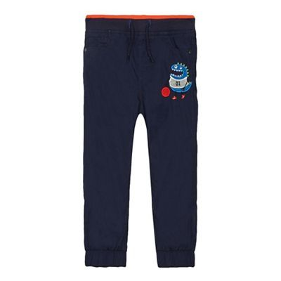 bluezoo Boys' blue monster applique poplin trousers | Debenhams