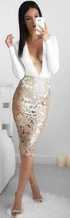 White Bodysuit + Gold Lace Midi Skirt                                                                             Source