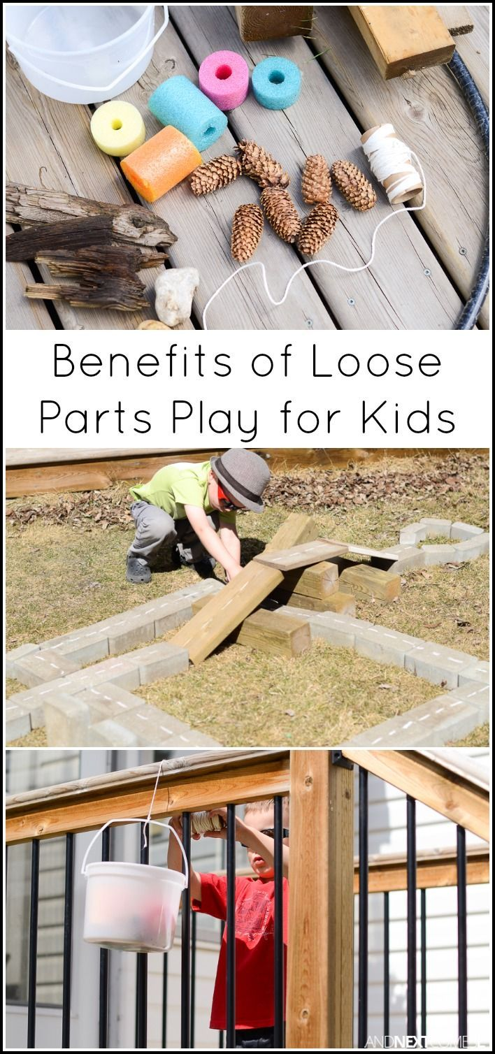 What are loose parts and why is playing with loose parts beneficial for kids? Includes a list of loose parts to use in the backyard from And Next Comes L