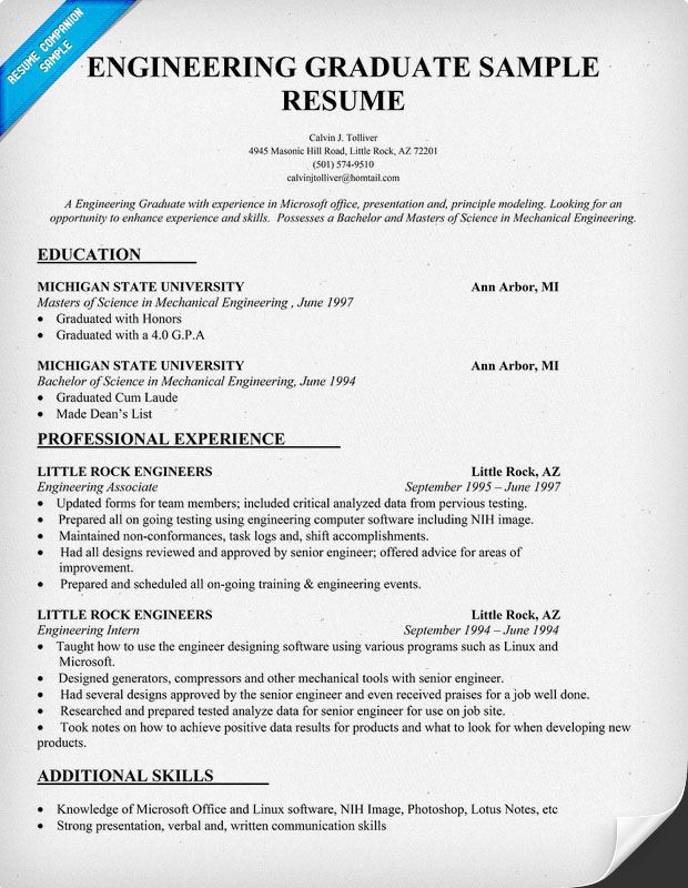 Engineering #Graduate Resume Sample (resumecompanion) Resume - objective for graduate school resume