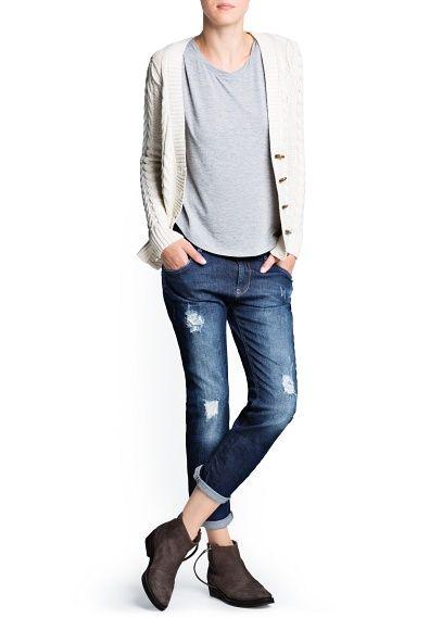 Cardigan en coton en maille torsadée