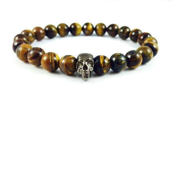 Męska bransoletka tygrysie oko z czarną czaszką w Dizarro na DaWanda.com