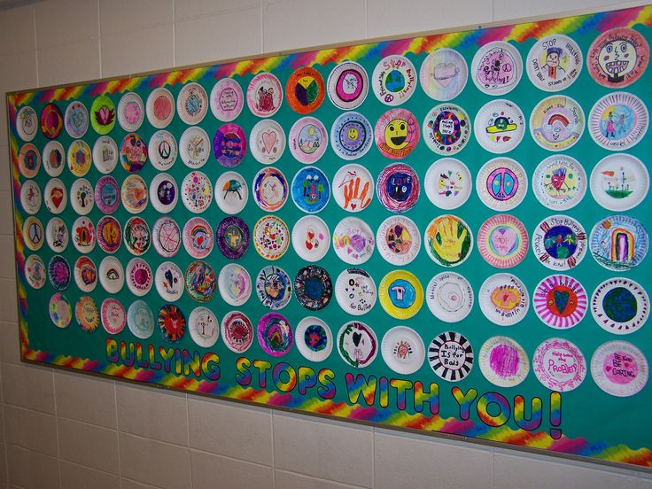 We buddied our older kids with the younger ones and had them create symbolic plates showing empathy, kindness, caring and anti-bullying. The result was a wonderful mosaic of messages from the children.