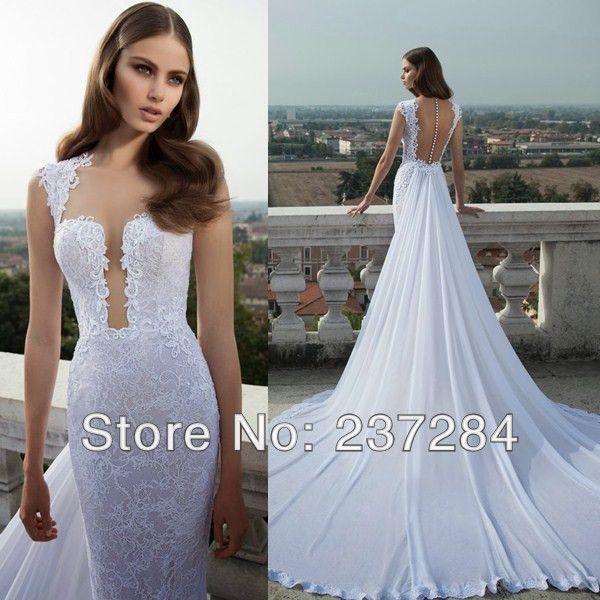 Elegant sexy backless wedding dress 2014 lace deep v for Elegant sexy wedding dresses