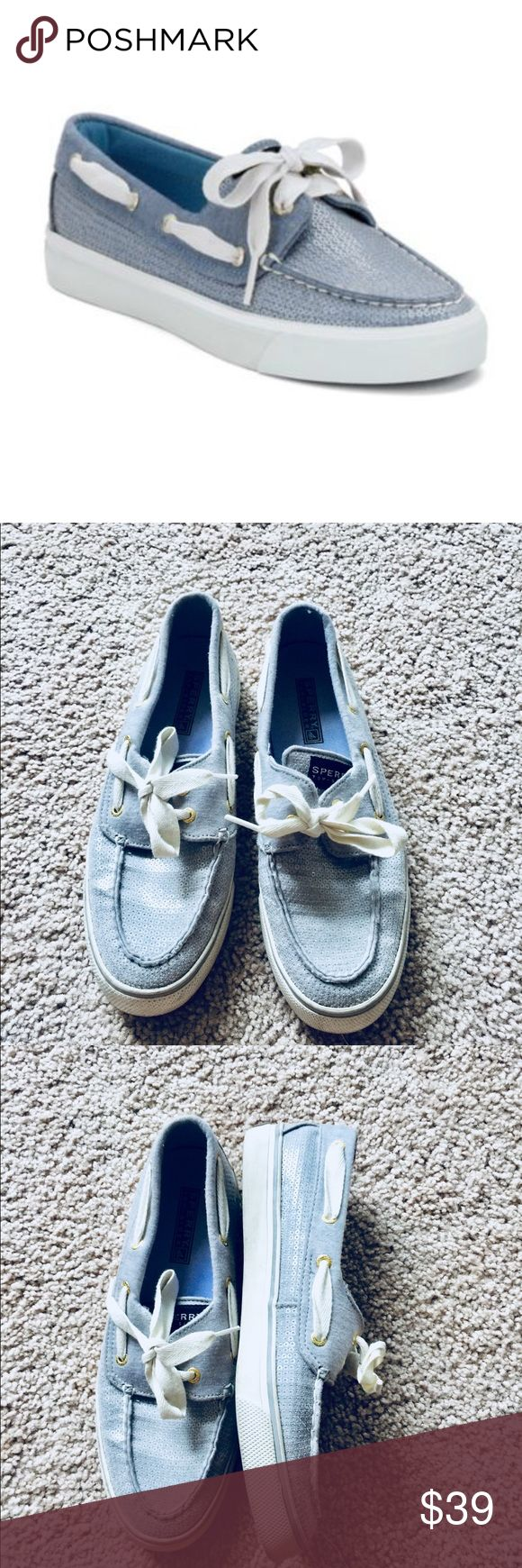 ❗️Sperry Sky Blue Sequin Boat Shoes MSRP $98! ❗️Sherry Sky Blue Sequins Boat Shoes. Size 7.5. Retails $98. In great condition. Feel free to make an offer! Selling to the first good offer I receive. Discounts on bundles. Large Cleanout Sale!   ❤️Posh Ambassador  ❤️Over 8,000 Sales ❤️Fast Shipping Sperry Top-Sider Shoes Flats & Loafers