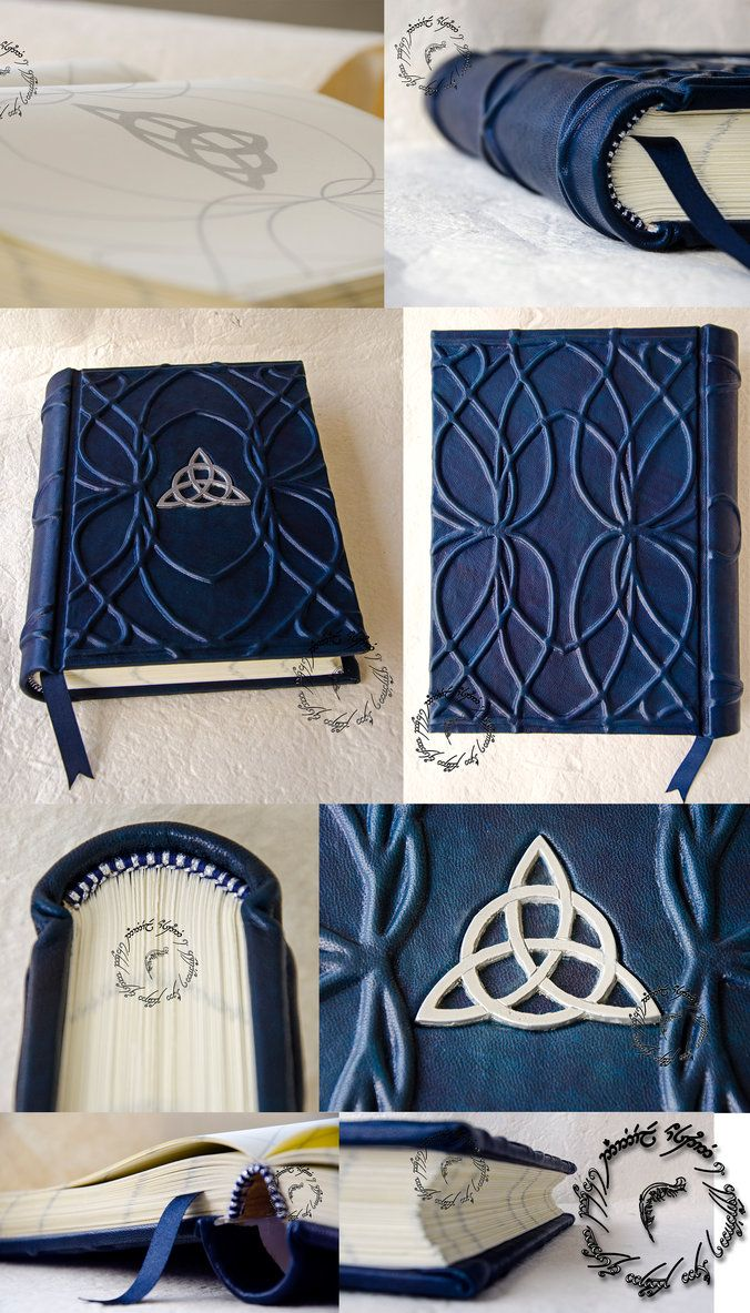 Elven by Danybuffy, Springback binding with rigid spine. Dark blue cover leather hand dyed. Elvish ribs reliefs on front cover, back cover and spine. Metallic decorative symbol on front cover. Bookmark dark blue satin...