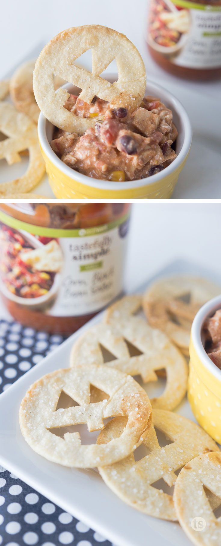 jack o lantern tortilla chips salsa dip by made to be a momma halloween foodshalloween