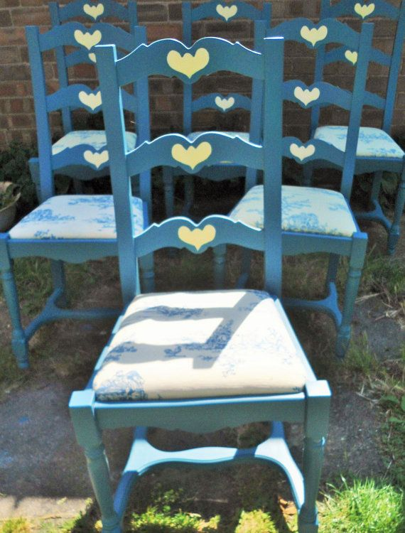 Set of six wooden dining room chairs hand painted in blue grey with folk art heart motif