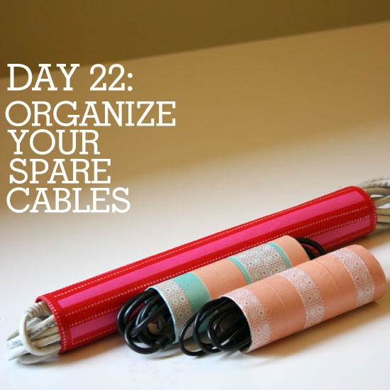 Organize those spare cables and cords in style and on the cheap! Toilet paper and paper towel rolls decorated with paper and washi tape. #DIY #Crafts